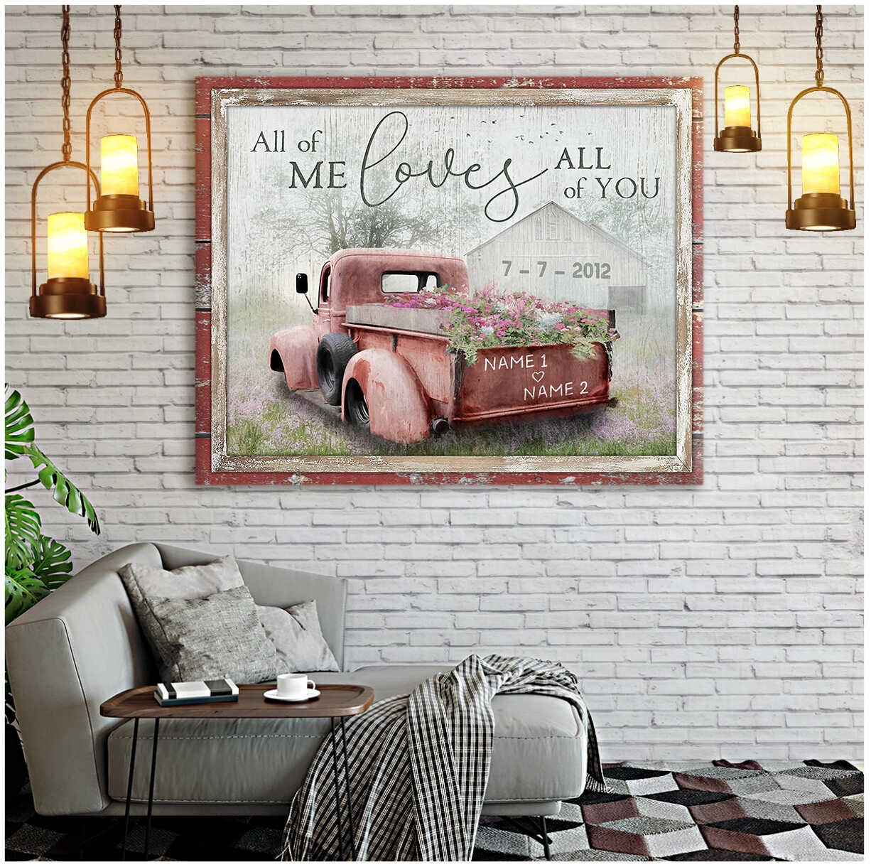 Truck All of me loves all of you custom name canvas4