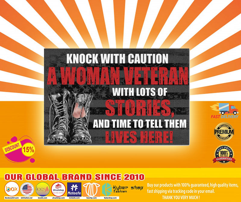 Veteran knock with caution a woman veteran doormat4