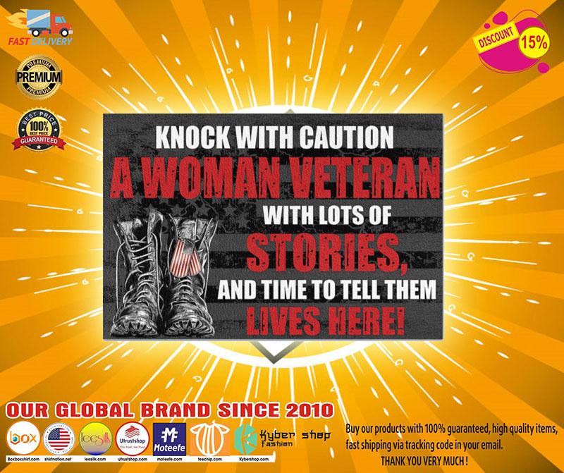 Veteran knock with caution a woman veteran doormat2