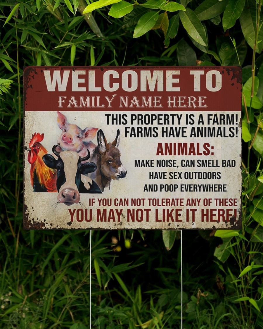 Welcome to this property is a farm custom name yard sign2