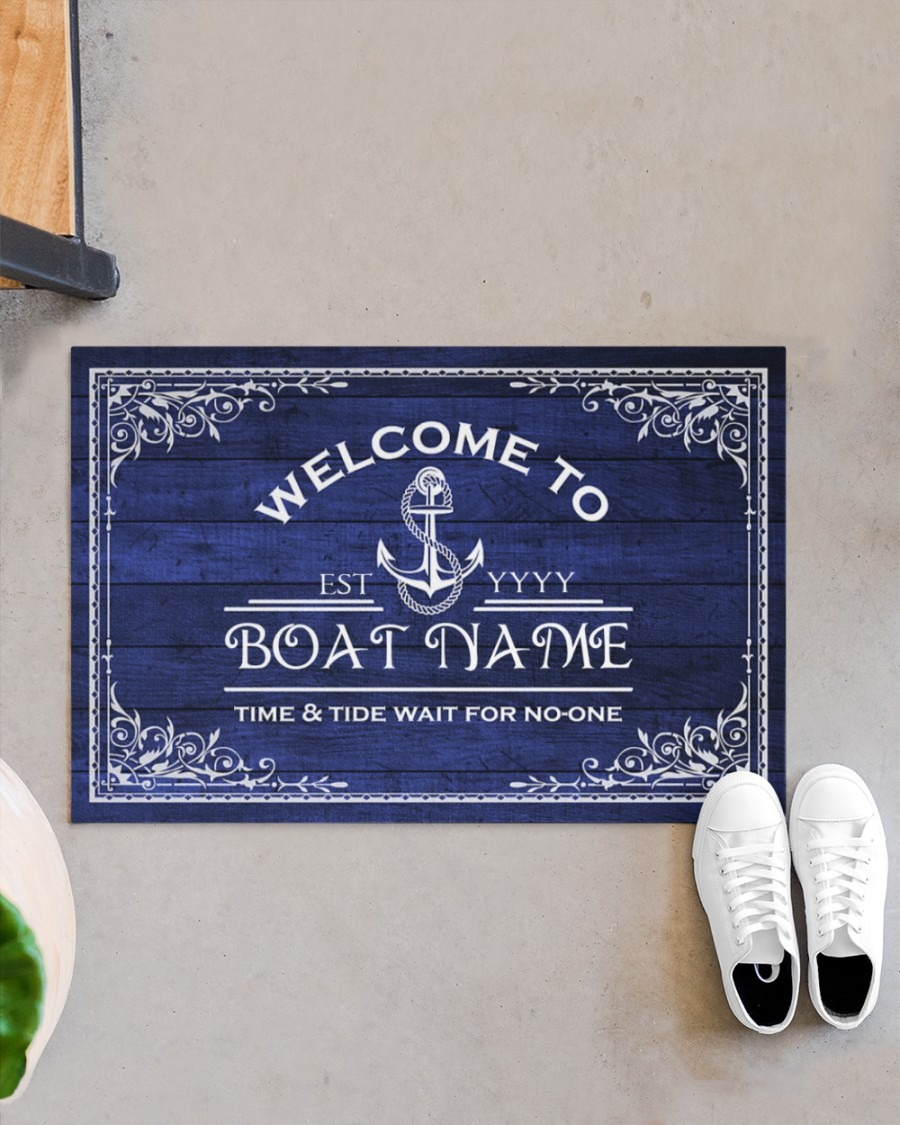 Welcome to time and tide wait for no one boat custom name doormat3