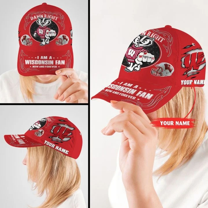 Wiba Damn right I am a Wisconsin fan now and forever custom cap2