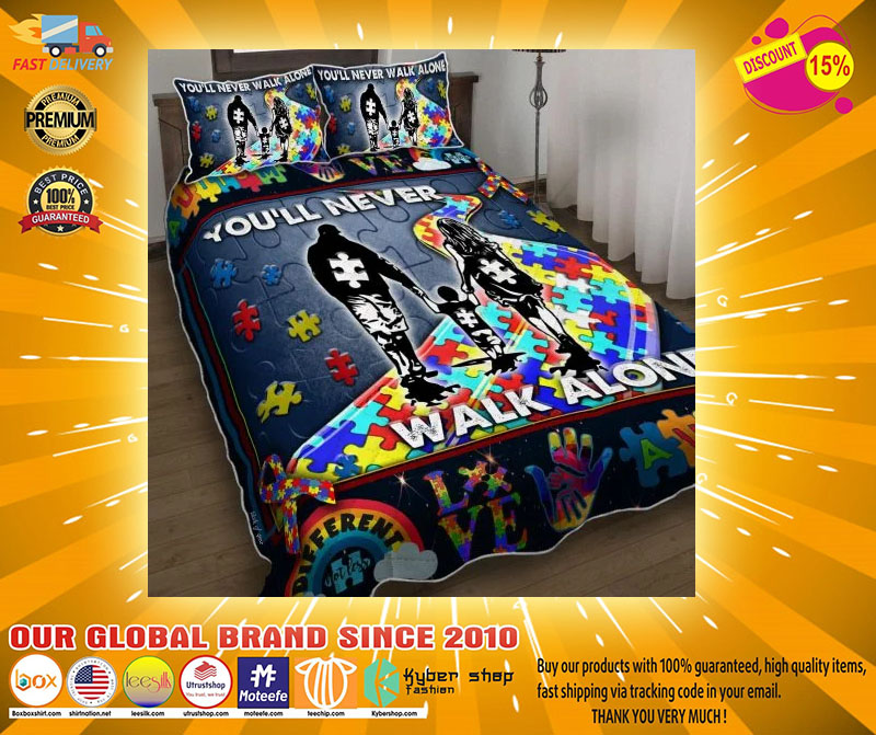 Youll never walk alone autism quilt bedding set212312312321