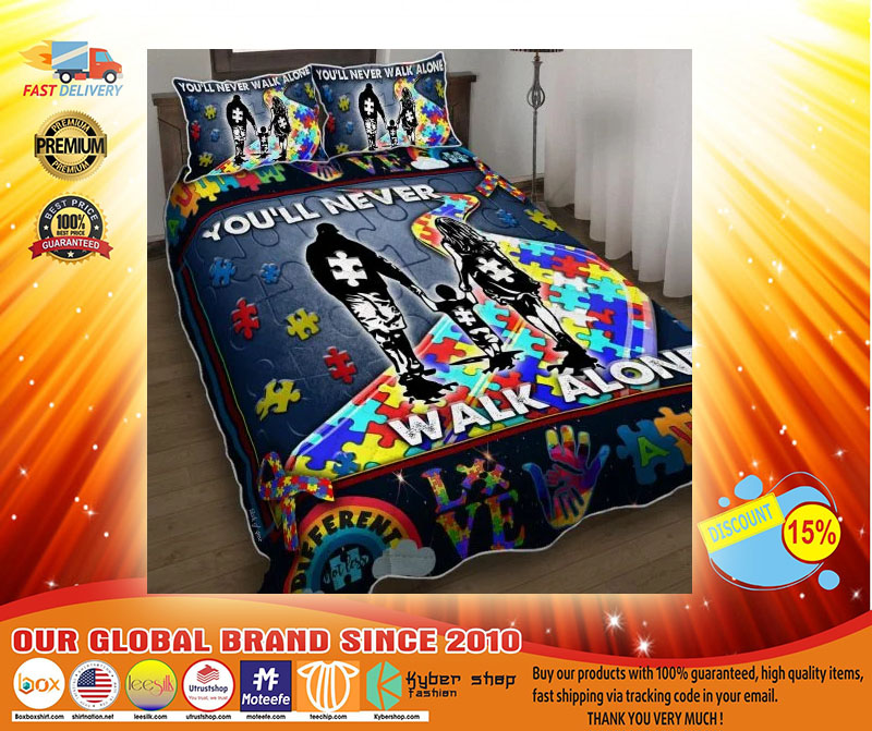 Youll never walk alone autism quilt bedding set3