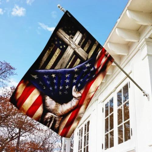 Christian Cross American Flag2