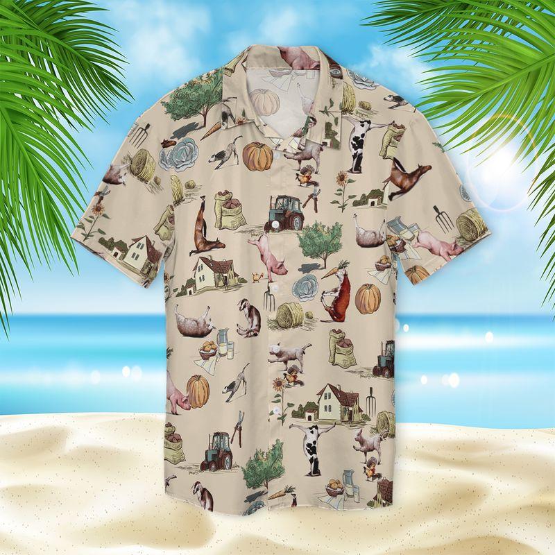 Farm Animal Yoga Pose Hawaiian Shirt