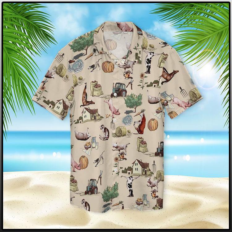 Farm Animal Yoga Pose Hawaiian Shirt1
