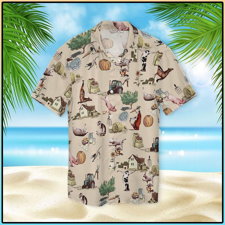 Farm Animal Yoga Pose Hawaiian Shirt2