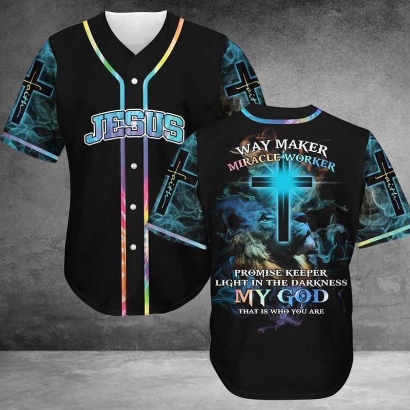 Jesus Way Maker Miracle Worker Baseball ShirtB