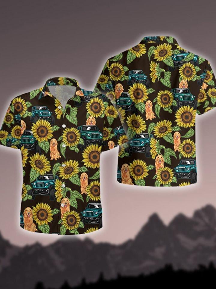 Jp Dog and Jp Sunflower Hawaiian Shirt and Short3