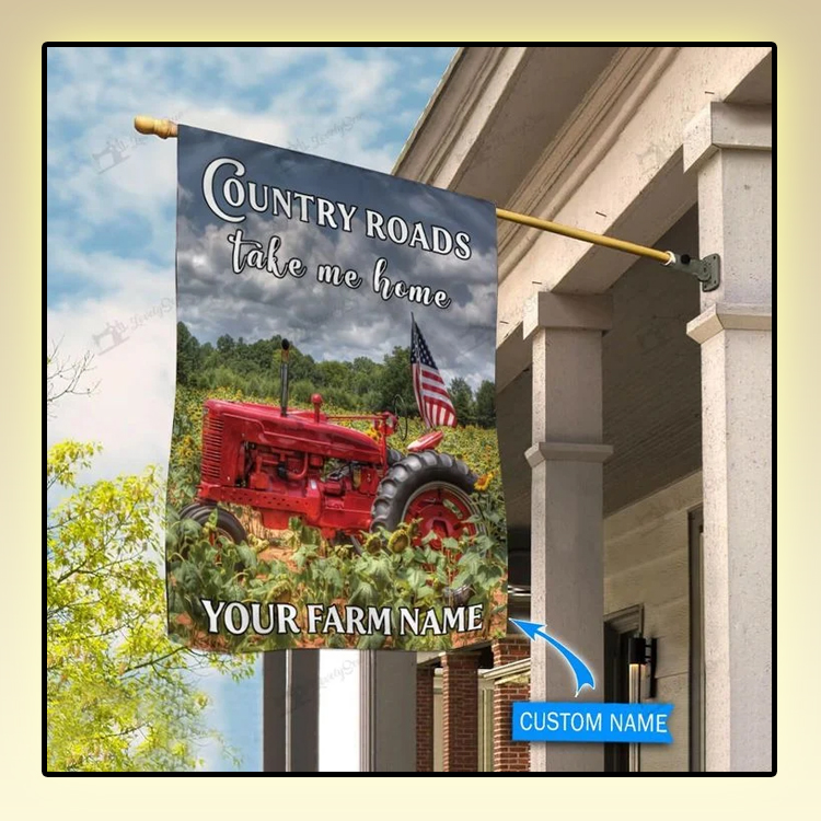 Red tractor country roads take me home personalized flag1