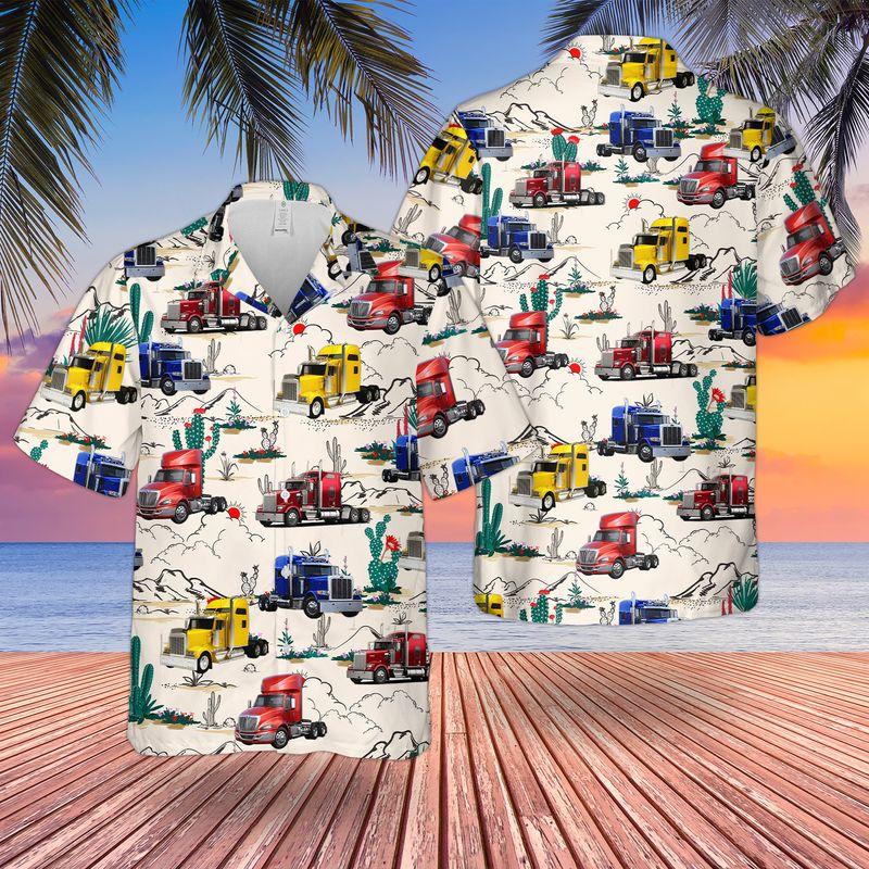 Semi Trailer Truck Hawaiian Shirt And ShortsA