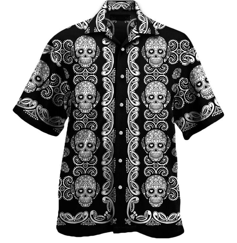 Sugar skull pattern all over print hawaii shirt