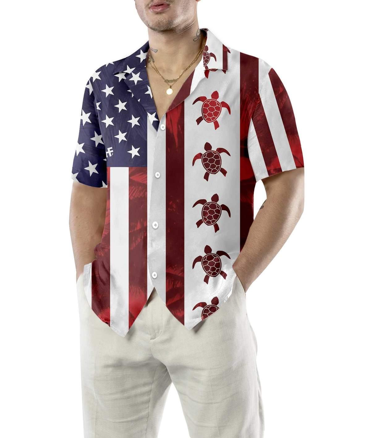 Turtle Flag American Hawaiian Shirt2