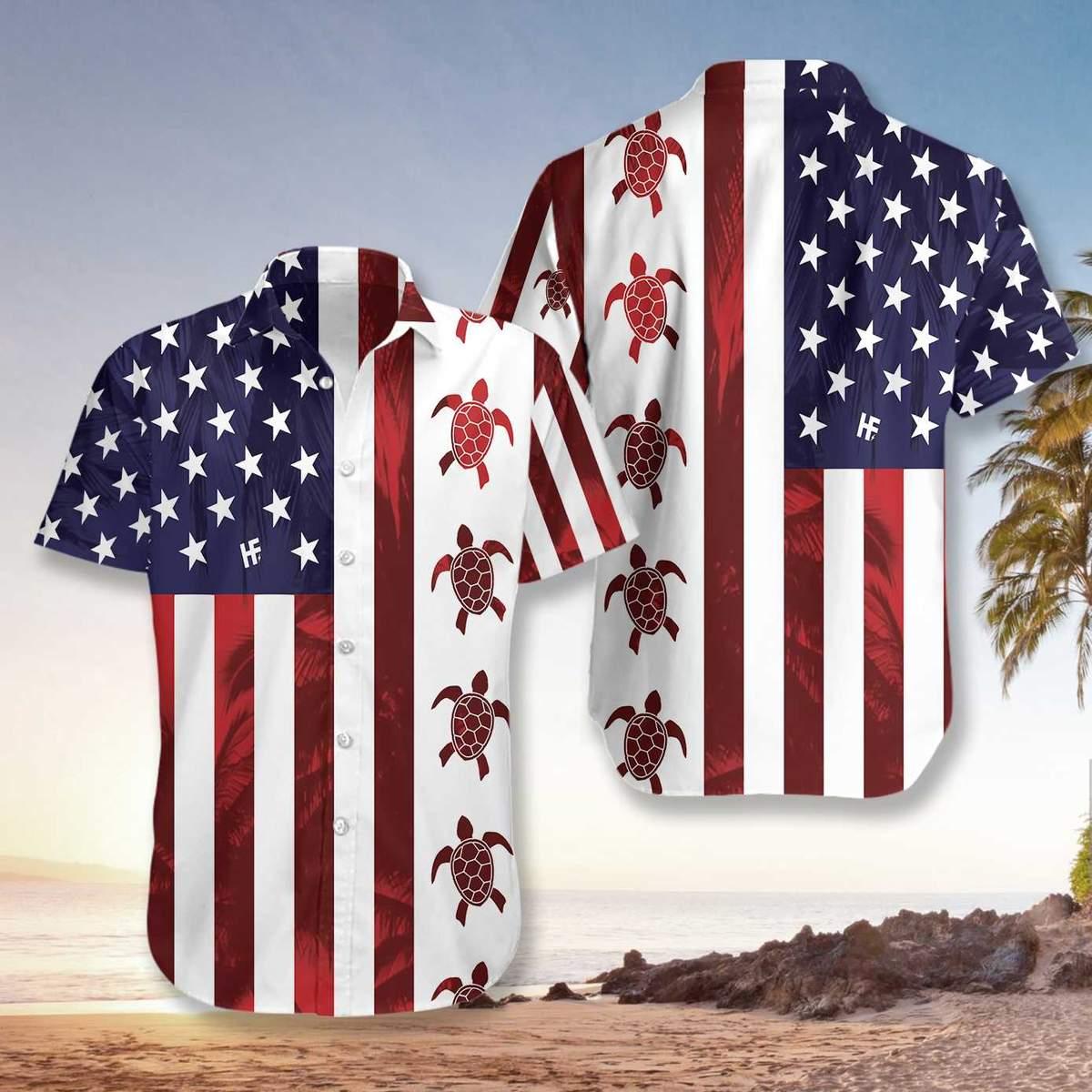 Turtle Flag American Hawaiian Shirt3