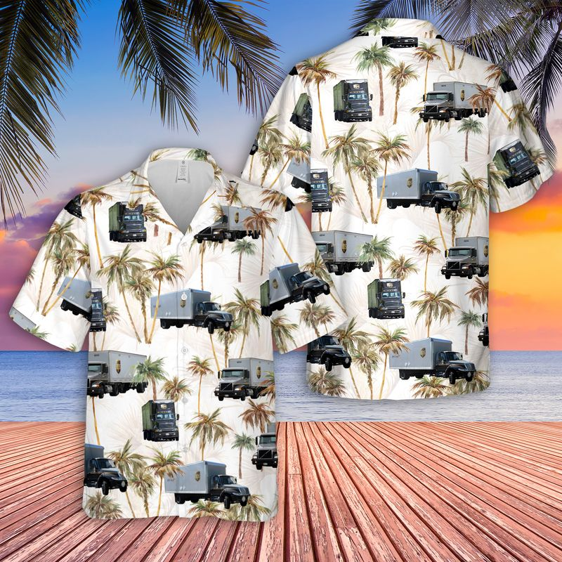 UPS Freight Truck Hawaiian Shirt And ShortsA