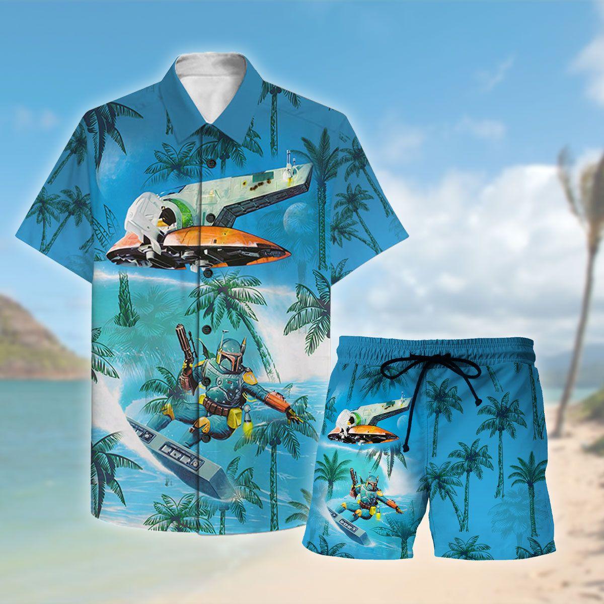 Dadalorian Surfing Hawaiian ShirtB