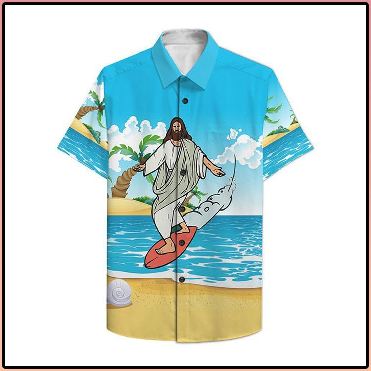 Jesus Surfing Hawaiian Shirt1