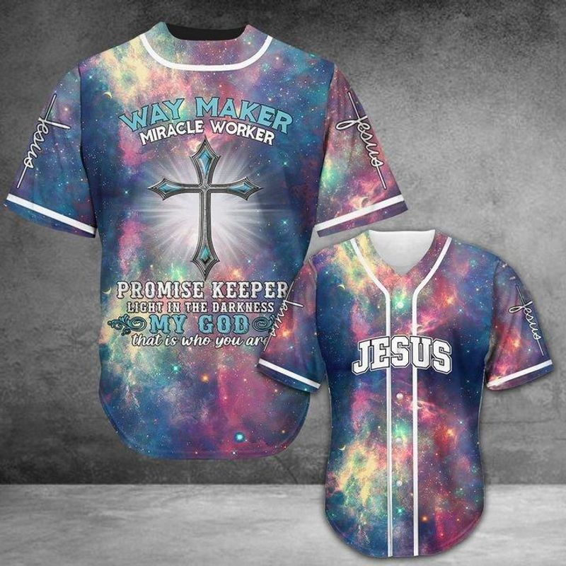 Jesus Way Maker Miracle Worker Baseball Shirt