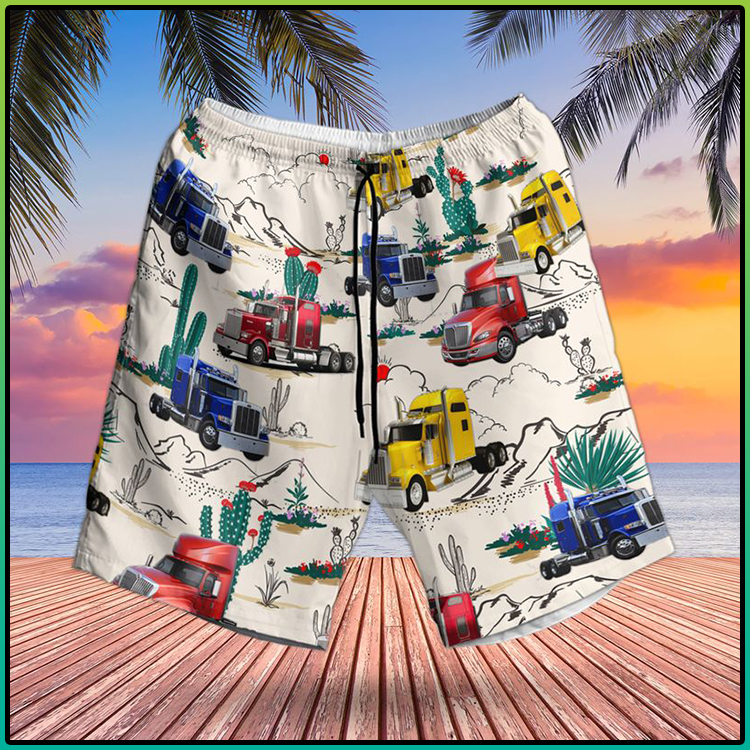 Semi Trailer Truck Hawaiian Shirt And Short2