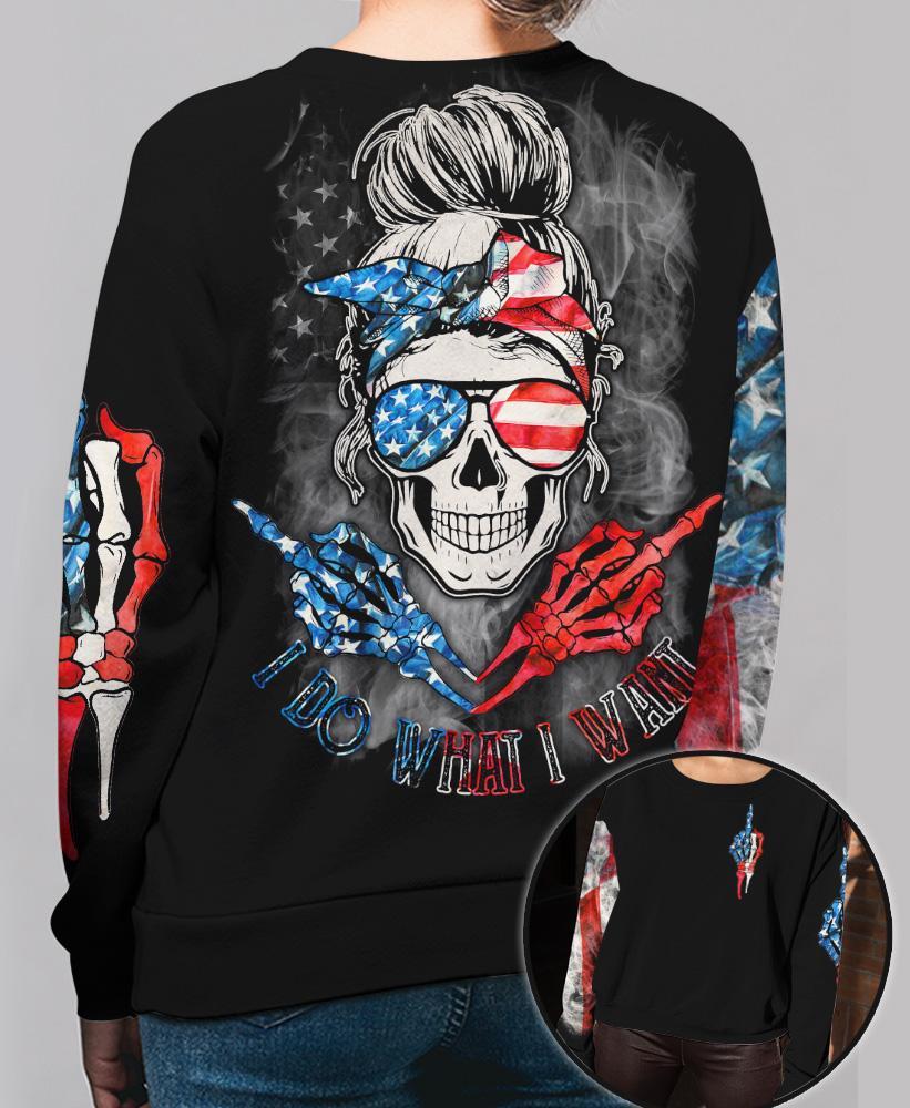Skull O Holic American Flag AI Do What I Want 3D Hoodie SWS