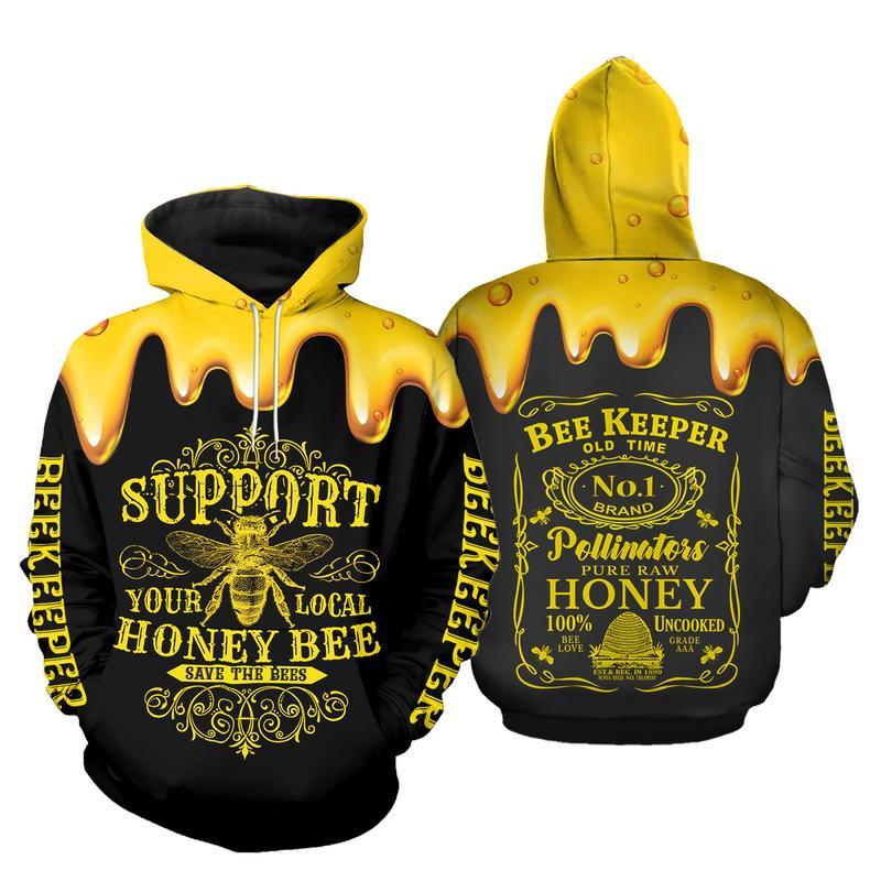 Support Your Local Honey Bee Beekeeper 3D Hoodie