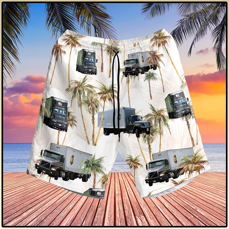 UPS Freight Truck Hawaiian Shirt And Shorts2