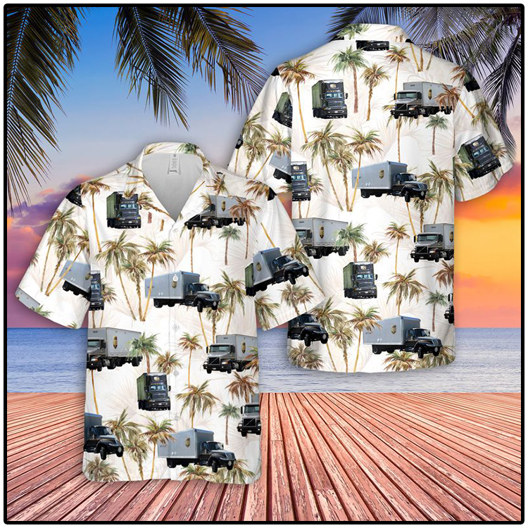 UPS Freight Truck Hawaiian Shirt And Shorts1