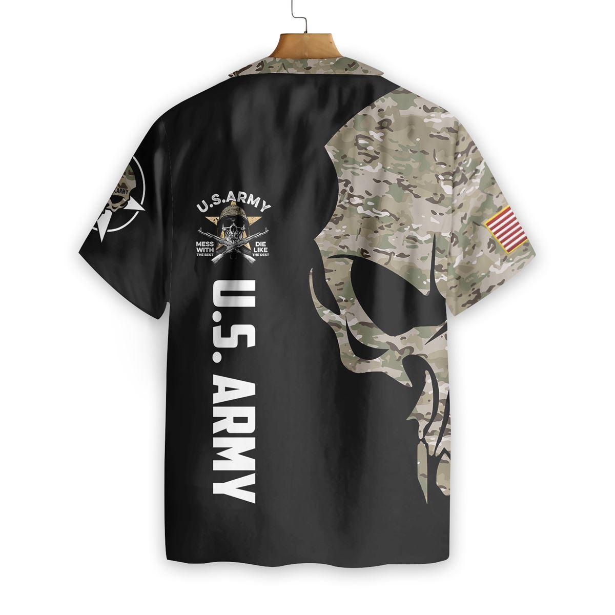 US Army Digital Camo Skull Custom Hawaiian ShirtB