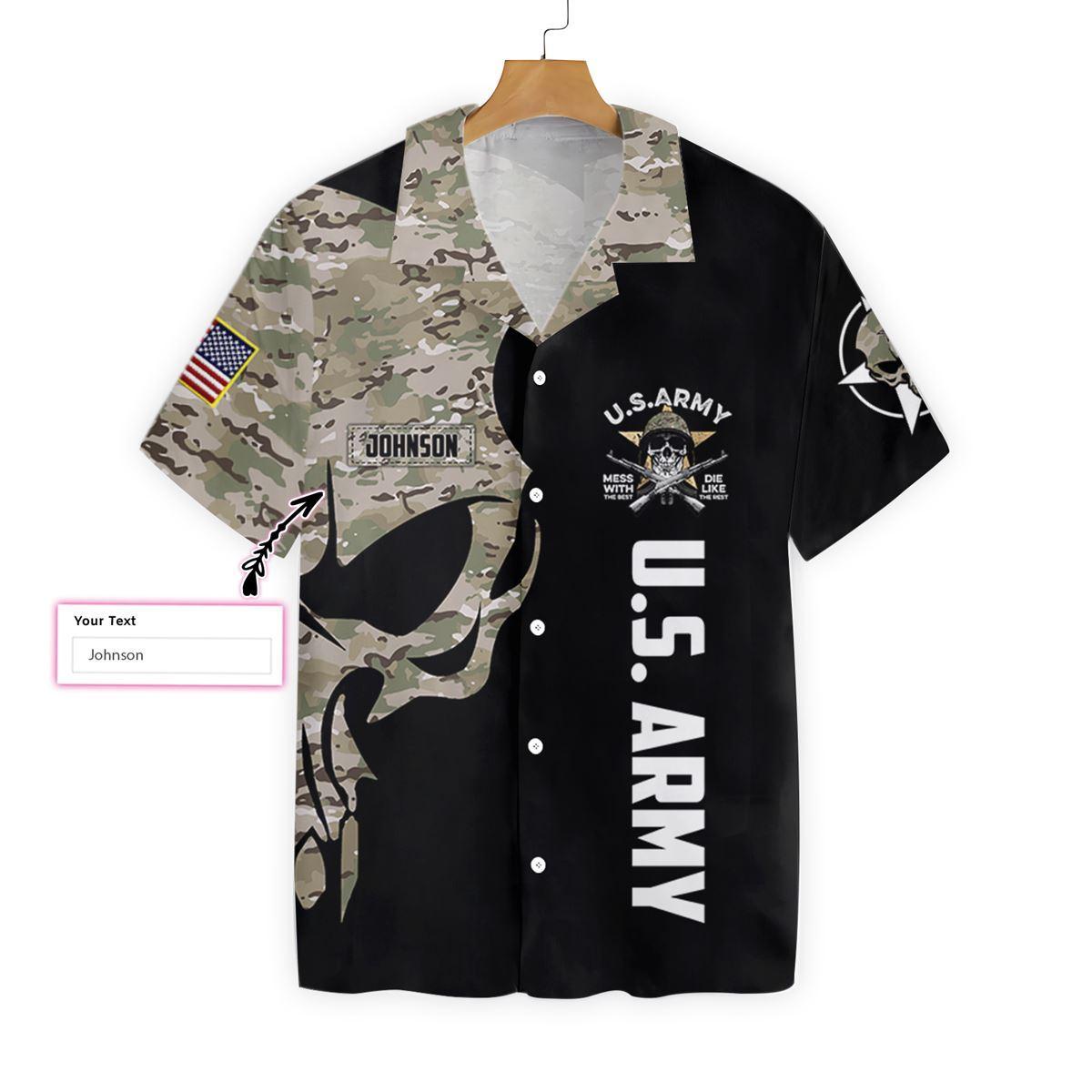 US Army Digital Camo Skull Custom Hawaiian ShirtA