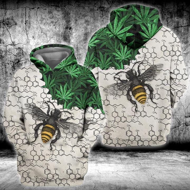 Weed Bee Chemical periodic 3D Hoodie