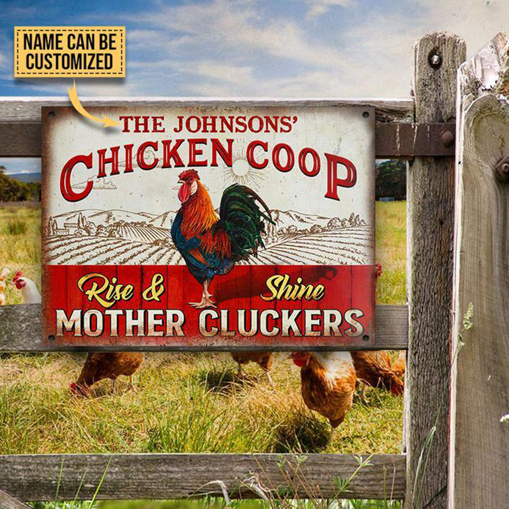 Chicken Coop Rise And Shine Mother Clickers Custom Name Metal Sign2