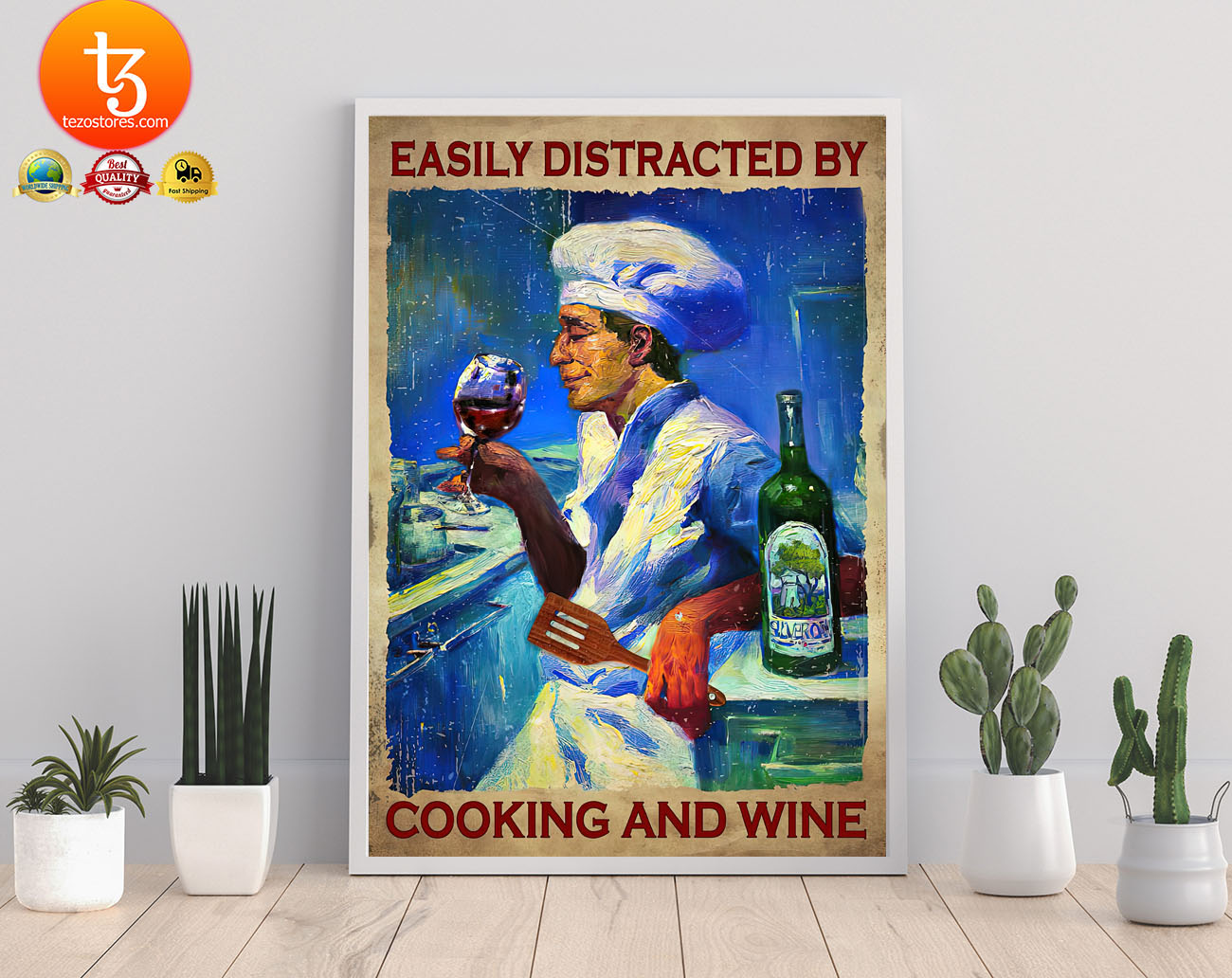 Easily distracted by cooking and wine poster2