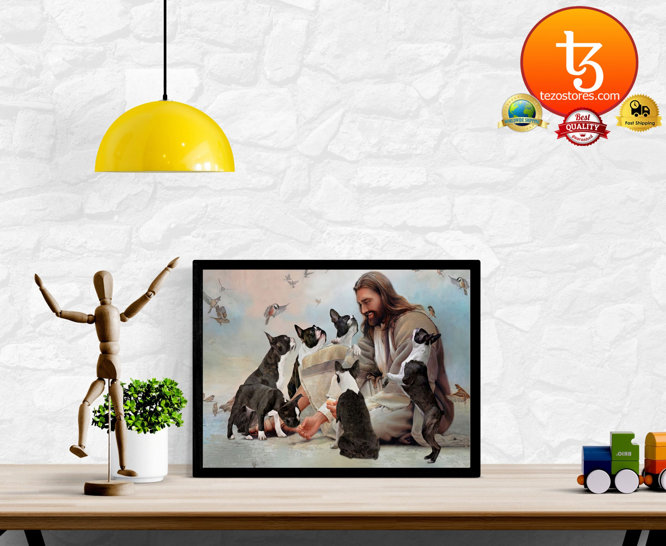 God surrounded by Boston Terrier angels Poster2