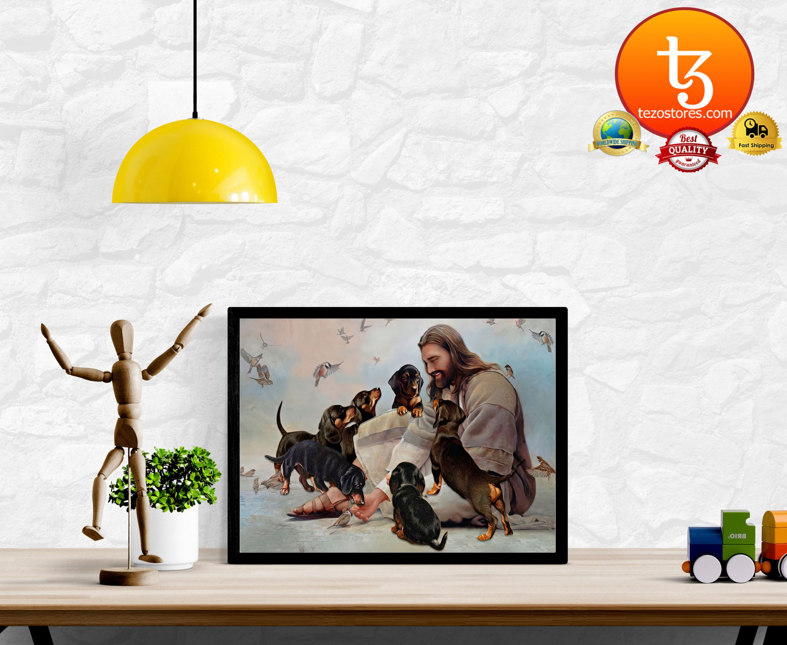 God surrounded by Dachshund angels Poster2