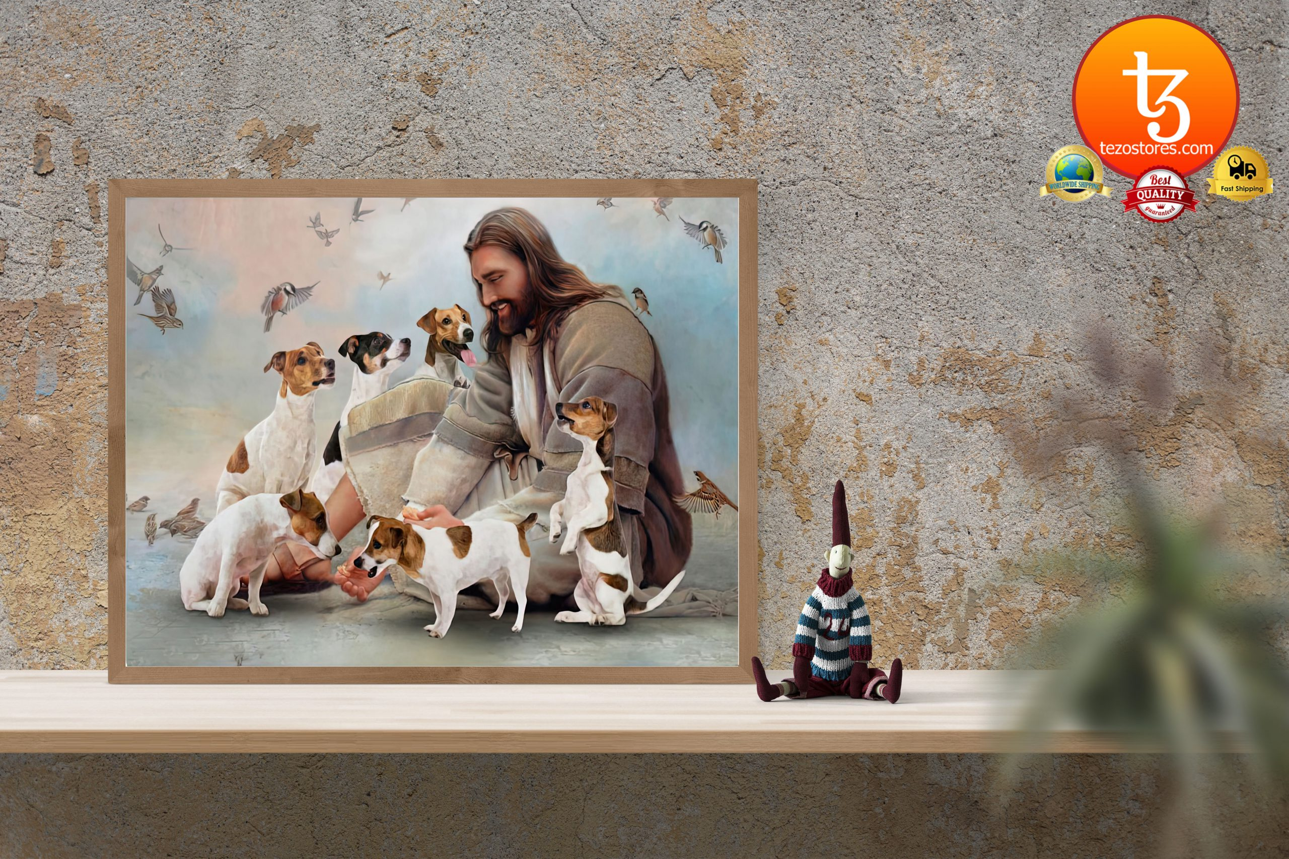 God surrounded by Jack Russell Poster3