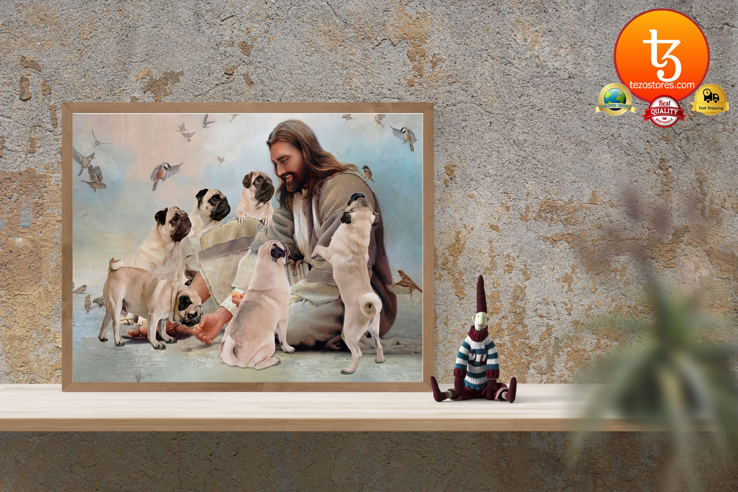 God surrounded by Pug angels Poster3