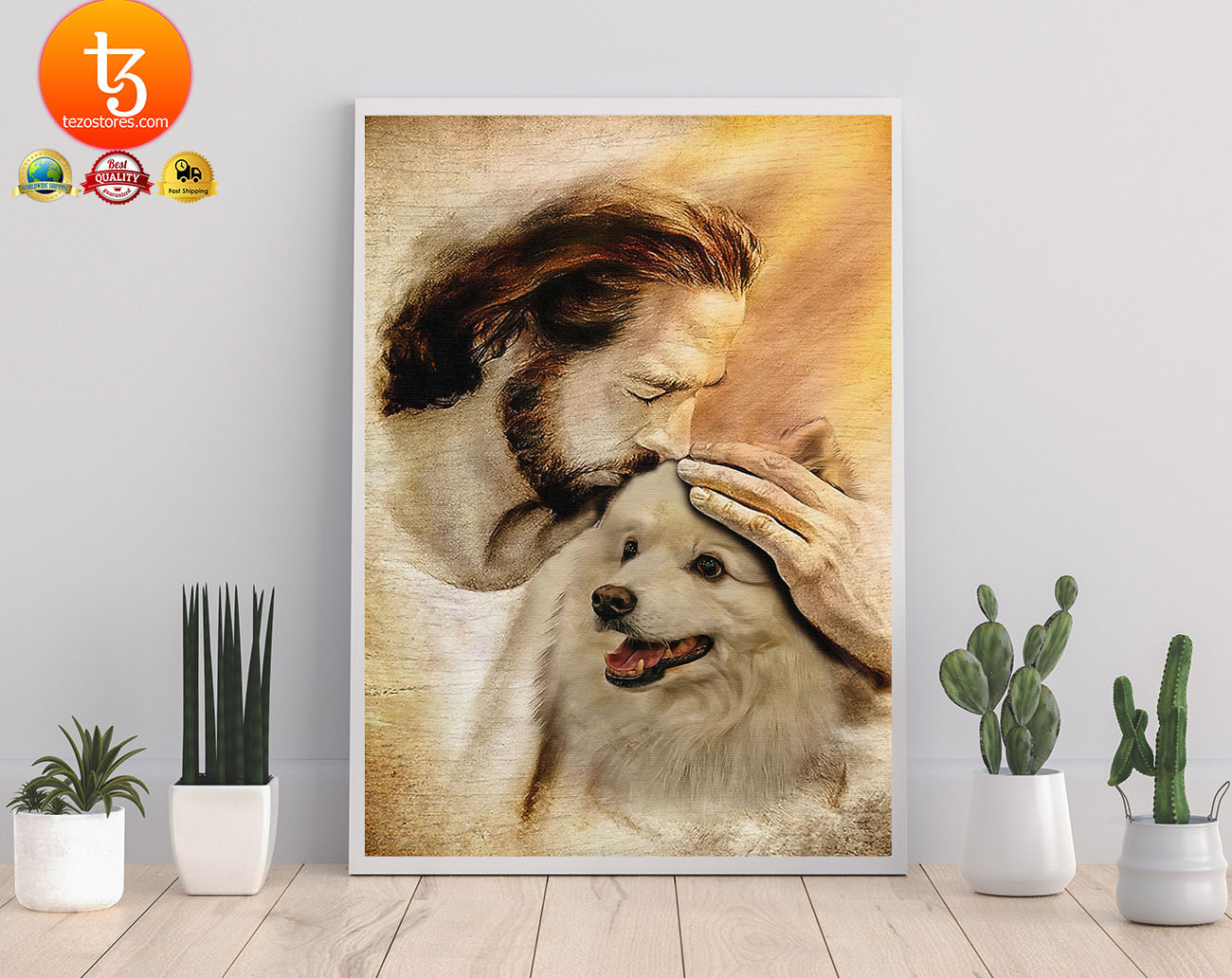 Jesus with American eskimo poster2