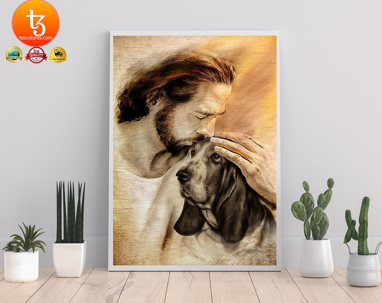 Jesus with Basset hound poster2