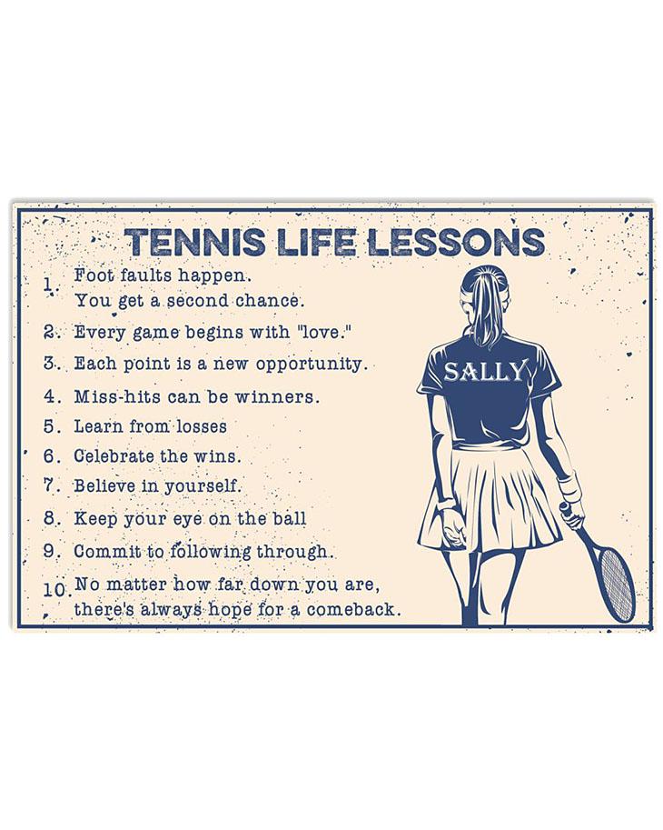 Tennis Life Lessons Custom Name Poster