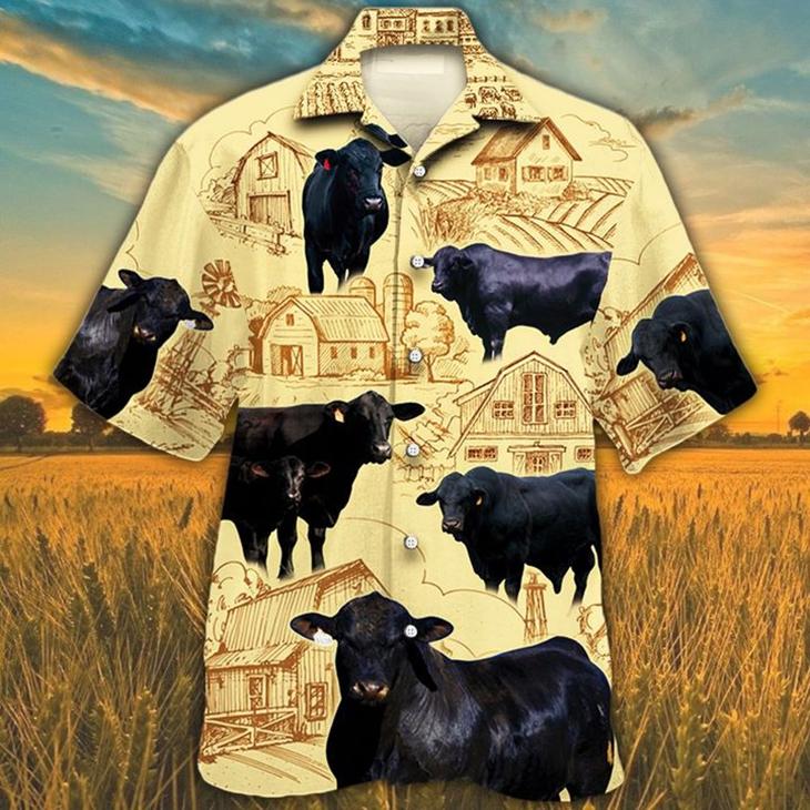 Black Angus Cattle Lovers Farm Hawaiian Shirt