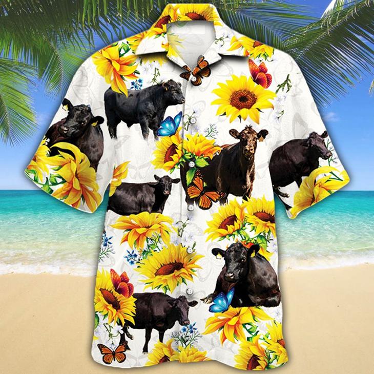 Black Angus Cattle Lovers Hawaiian Shirt8
