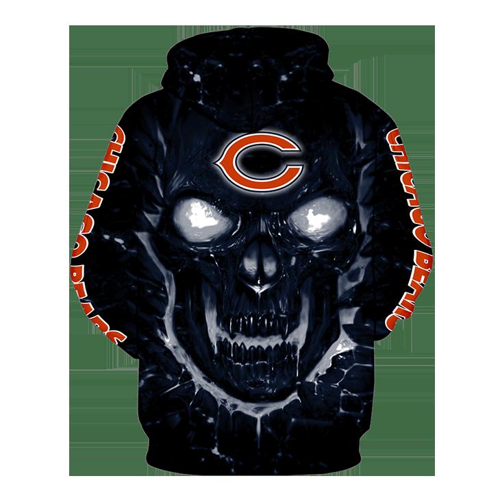 Skull Chicago Bears Logo 3D Hoodie2