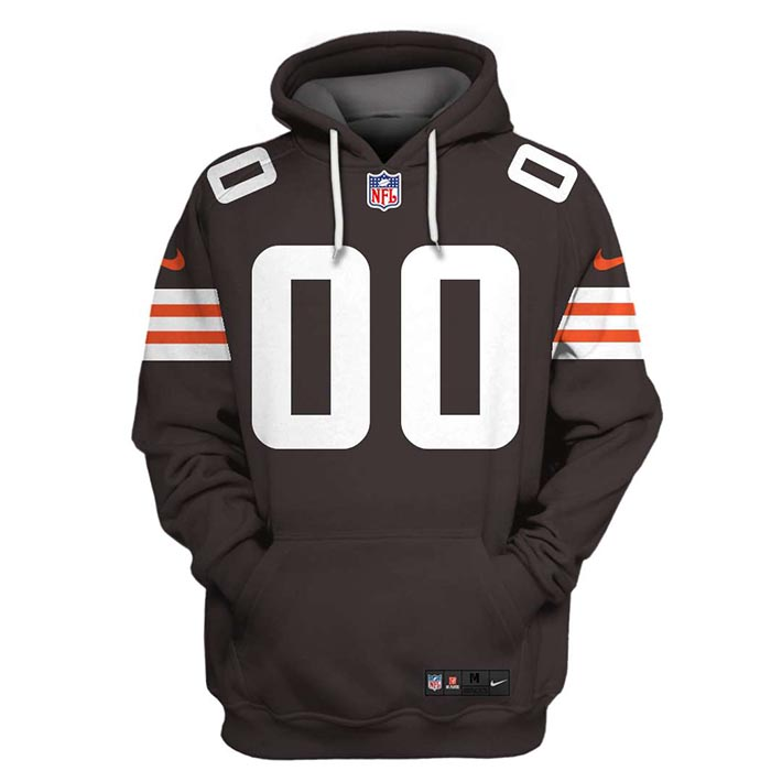 NFL Cleveland Browns Custom Name And Number 3D Hoodie Shirt