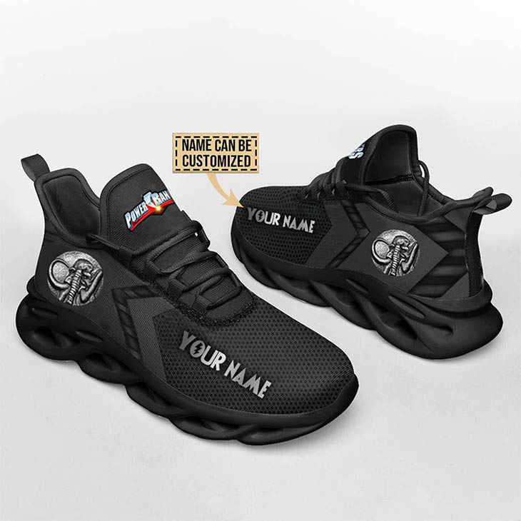 Mighty Morphin Power Rangers Black Custom Name Clunky Max Soul Shoes1