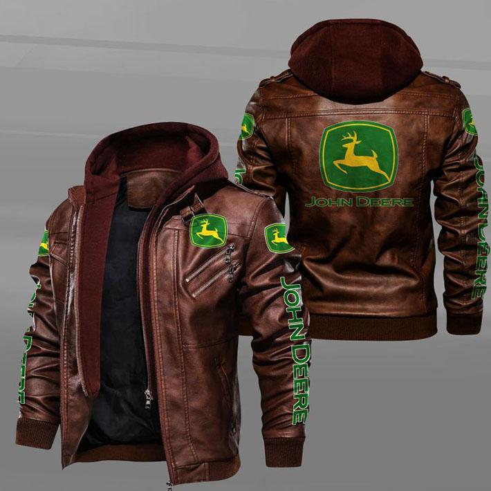 John Deere Logo Leather Jacket1