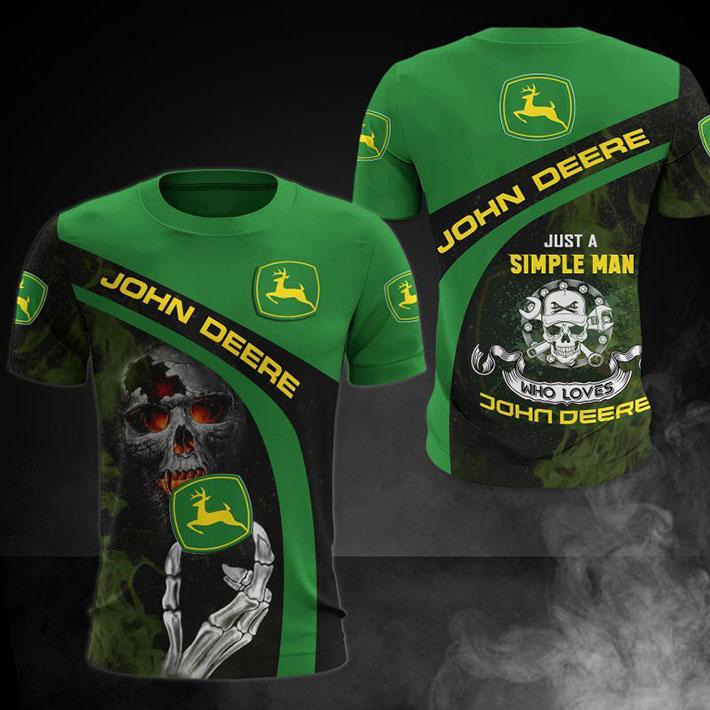 Skull Just A Simple Man John Deere Who Loves 3D Hoodie Shirt3