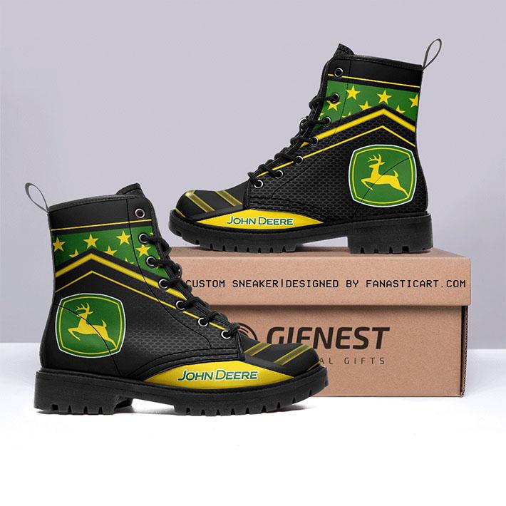 John Deere Logo Leather Boots1