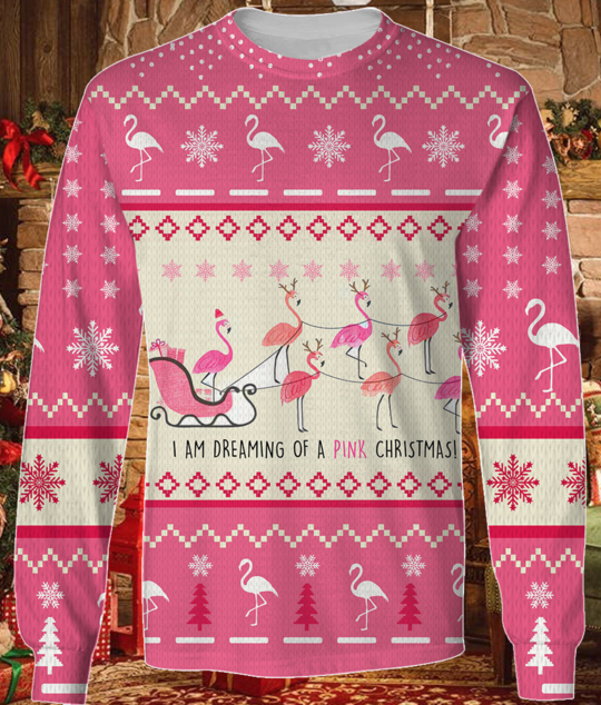 Flamingo I am Dreaming Of A Pink Christmas knitted hoodiesweater 2