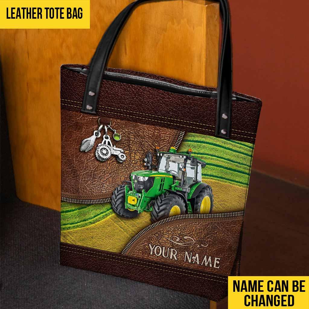 Green Tractor Custom Name Tote Bag2
